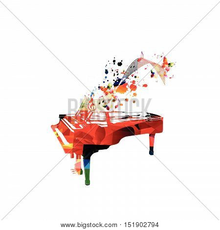 Creative music style template vector illustration, colorful piano, music instrument with music staff and notes background. Poster, brochure, banner, concert, music festival, music shop design