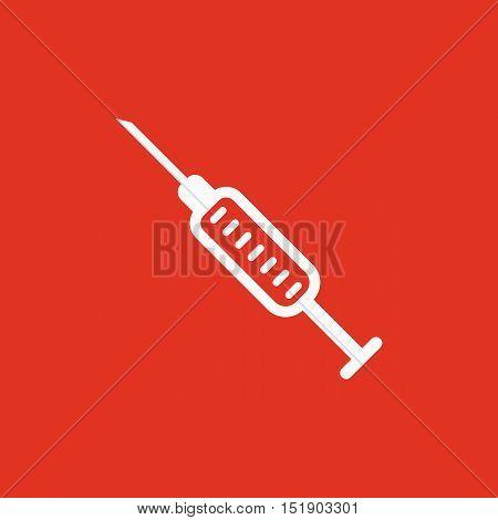 The syringe icon. Injector and hypodermic, preparation, medicine,  vaccine symbol. Flat Vector illustration