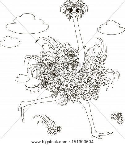 Flowers ostrich, coloring page anti-stress vector illustration