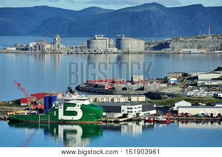 HAMMERFEST NORWAY - August 06 2016: ships in the port Hammerfest
