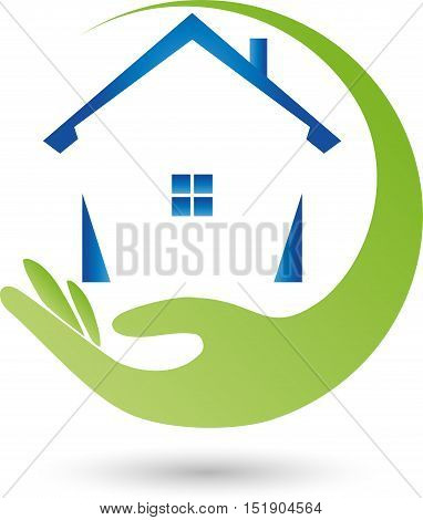 Hand and house in green and blue, real estate real estate agent logo