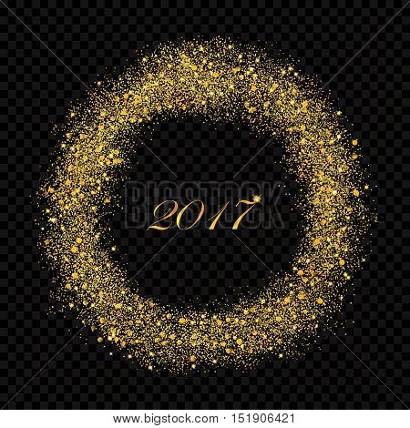 2017 New Year abstract gold glittering star dust rain circle on the alpha transperant background. Rich Golden Explosion Confetti effect. Luxury NY 2017 banner.