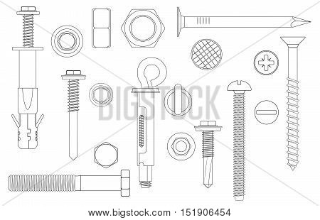 Construction Hardware set Bolts, Screws, Nuts and Rivets. vector illustration of outline line Metal fix gear elements
