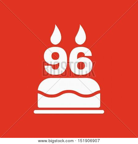 The birthday cake with candles in the form of number 96 icon. Birthday symbol. Flat Vector illustration