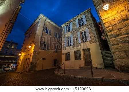 Antibes, French Riviera, France: the old town at night