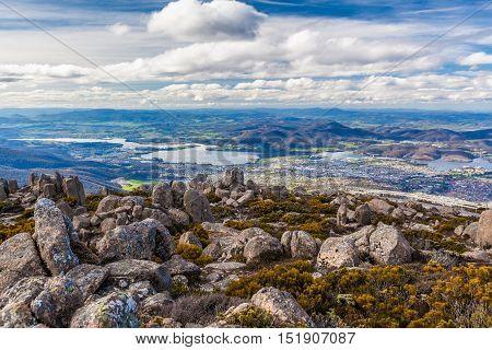 View Of Hobart From Mount Wellington, Tasmania