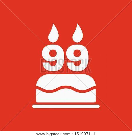 The birthday cake with candles in the form of number 99 icon. Birthday symbol. Flat Vector illustration