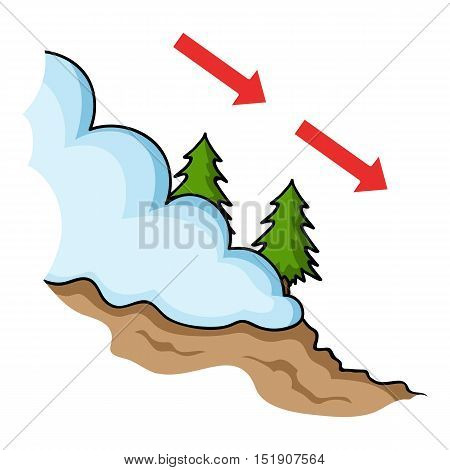 Avalanche icon in cartoon style isolated on white background. Ski resort symbol vector illustration.