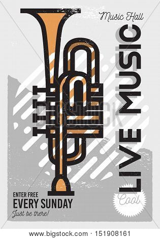 Live Music Minimalistic Cool Line Art Event Music Poster. Vector Design. Side View Trumpet Icon.