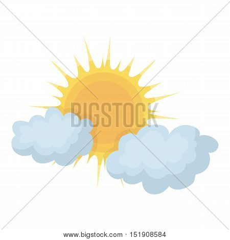 Cloudy weather icon in cartoon style isolated on white background. Weather symbol vector illustration.