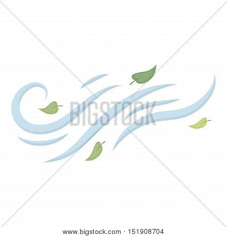 Windy weather icon in cartoon style isolated on white background. Weather symbol vector illustration.