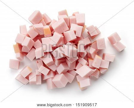 Heap Of Chopped Ham Sausage, From Above