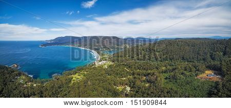 Aerial Panorama Of Eaglehawk Neck, Tasmania