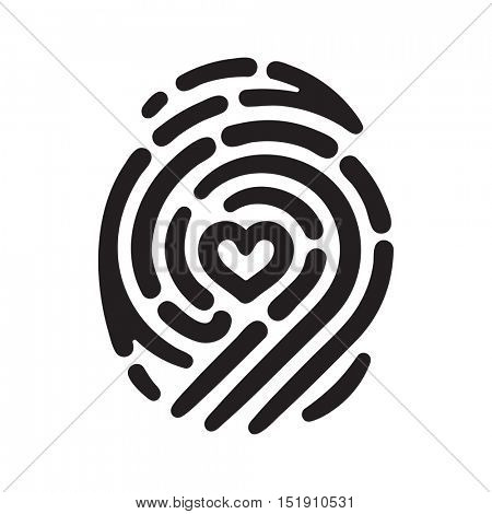 Fingerprint with heart shape inside. Conceptual security logo or identification icon of dashed line finger print
