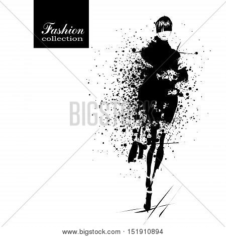 Fashion girl in splatter sketch-style. Fashion woman portrait. Vector illustration.