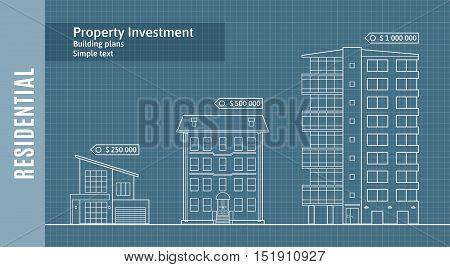 Silhouettes of buildings on the drawing paper, Residential Real Estate Infographics . Vector illustration