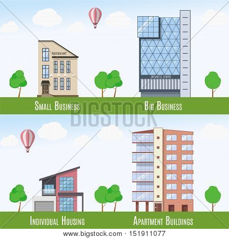Commercial and Residential Real Estate signs, set of 4 buildings. Vector illustration.