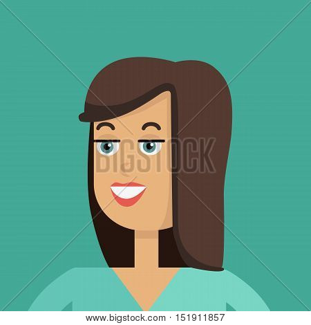 Businesswoman avatar icon isolated on green background. Woman with brown hair. Smiling young girl personage. Flat design vector illustration