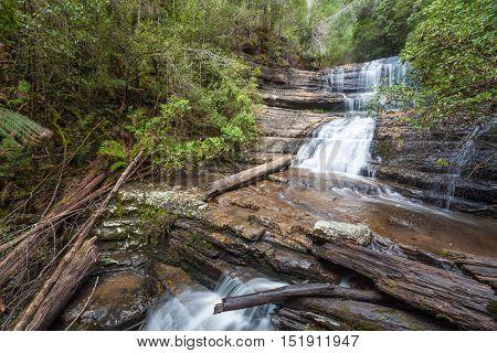 Lady Barron Waterfall Cascading Down The Rocks At Mount Field National Park, Tasmania