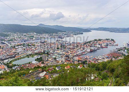 Bergen aerial view from Ulriken Mountain, Norway