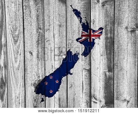 Map And Flag Of New Zealand On Wood,