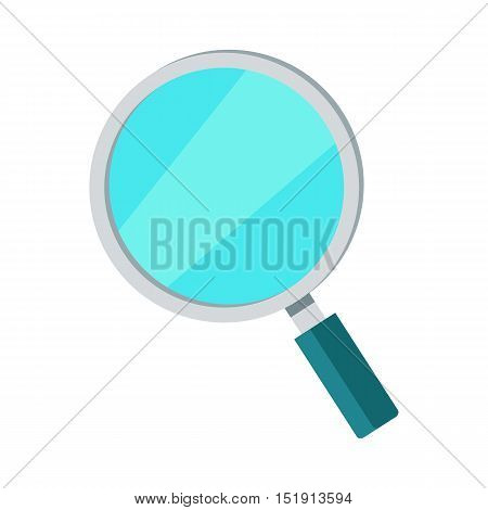 Search icon magnifying glass isolated on white. Online search, zoom glass, find and look, optical magnifying glass. Magnifier sign symbol. Instrument for data analiz. Vector design in flat style