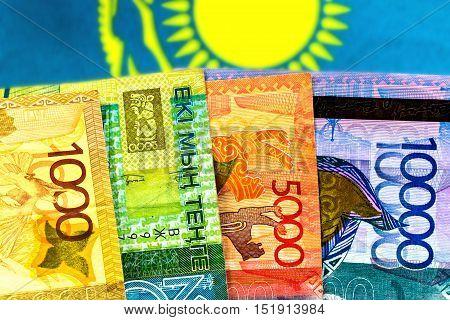 Money Kazakhstan Tenge on the background of the flag