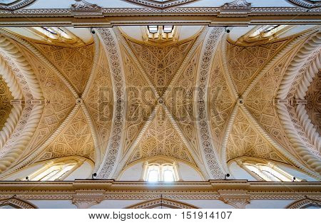 ERICE ITALY - SEPTEMBER 12 2015: Ceiling of the Erice Cathedral province of Trapani in Sicily. Italy