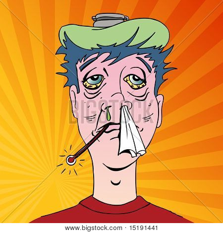 An image of a man with terrible flu symptoms.
