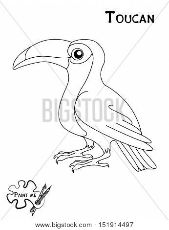 Children's coloring book that says Paint me. Toucan
