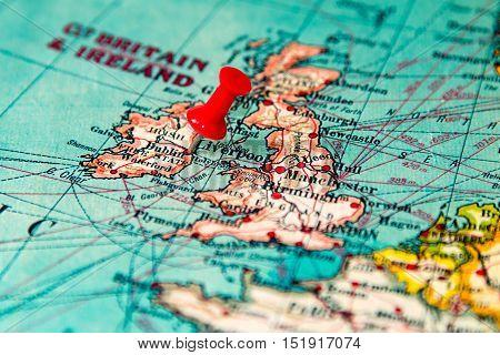 Dublin, Ireland Pinned On Vintage Map Of Europe