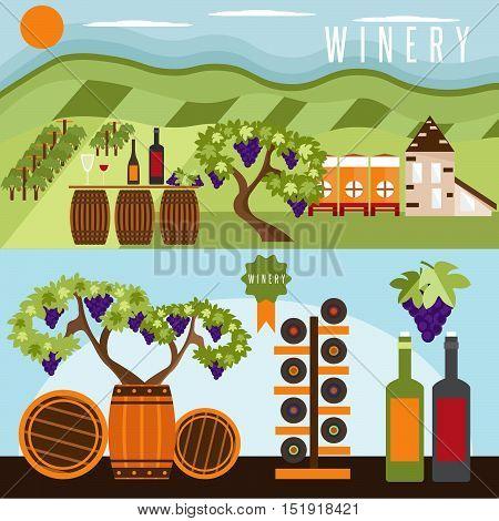flat design set of landscape with winery vineyard barrels and bottles of wine