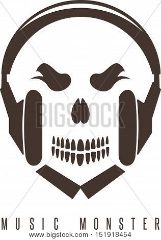 Negative Space Concept With Skull Monster And Headphones