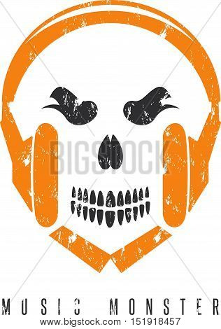 Negative Space Grunge Concept With Skull Monster And Headphones