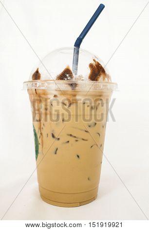 iced fresh roasted coffee popular beverage on background white