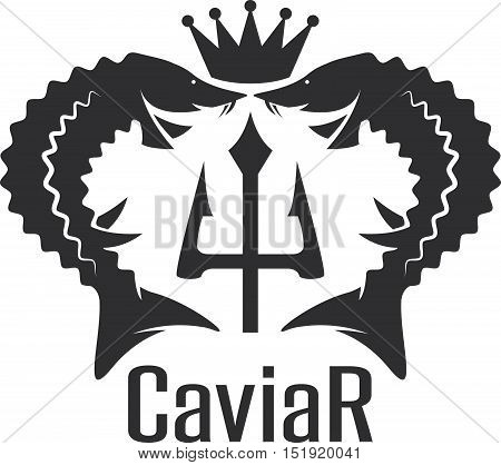 Caviar Vector Emblem With Sturgeons , Crown And Trident
