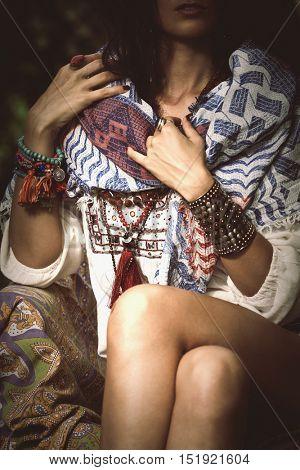 woman bohemian style clothes details outdoor shot