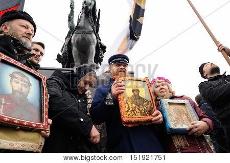 Orel Russia - October 14 2016: Ivan the Terrible monument opening ceremony. Cossacks and Union of Orthodox Banner-Bearers Russian ultra-orthodox clerical group with icons infront the monument