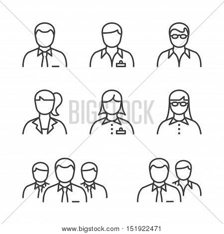 business people line icon set in black for business office & human resources.