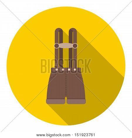 Lederhosen icon in flat style isolated on white background. Oktoberfest symbol vector illustration.