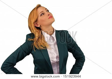 Portrait Of Thoughtful Young Woman, Isolated On White Background