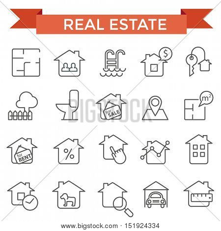 Real estate icons, thin line flat design