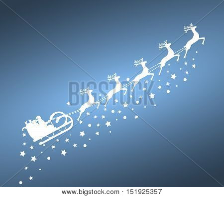 Santa Claus in sled rides in the sled reindeer on a blue background