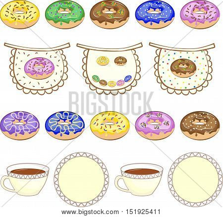 Set of culinary pictures. Lines made from donuts, cups and plates, aprons. Vector illustration.