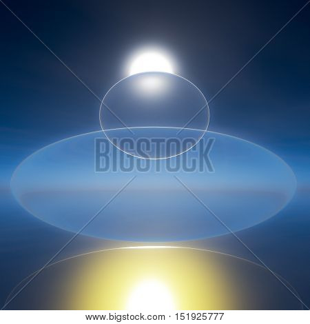 An abstract background floating zen bubbles over horizon sun 3d illustration.