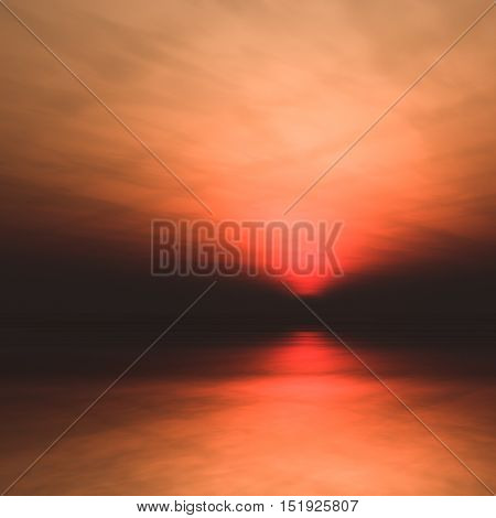 A background misty sea with sun low in a dark foggy and hazy horizon 3d illustration.