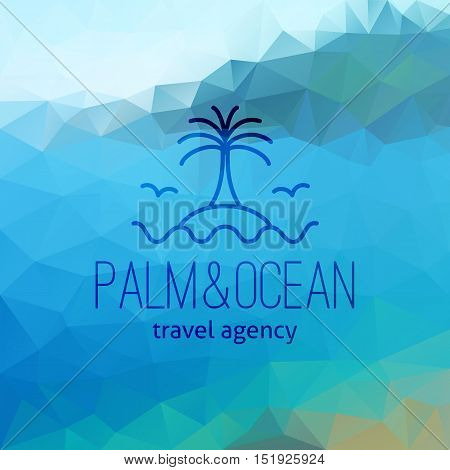 travel agency logo on polygon seascape background, palm on island and wave