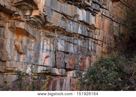 Rock paintings and cave painting in the Caatinga of Brazil