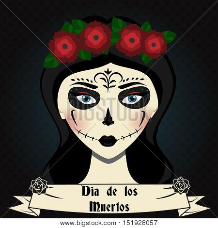 Girl with sugar skull calavera make up and roses wreath . Mexican day of dead vector illustration. Dia de los Muertos greeting card, party invitation, banner