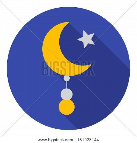 Crescent and Star icon in flat style isolated on white background. Religion symbol vector illustration.